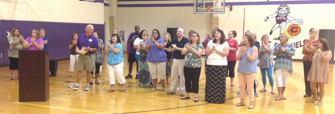 Opening Day Celebration. Caverna Alumni singing CHS fight song!