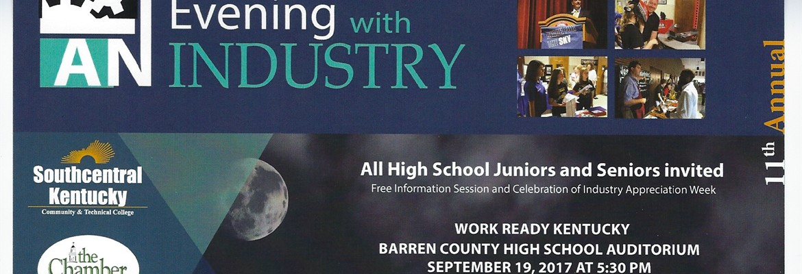 Evening with Industry September 19th @5:30PM *Speak with SKYCTC Admissions and Financial Aid Reps as well as Program Instructors *Find out how you can go to college tuition free through the new Work Ready Kentucky Scholarship *Steak dinner grilled by Kingsford